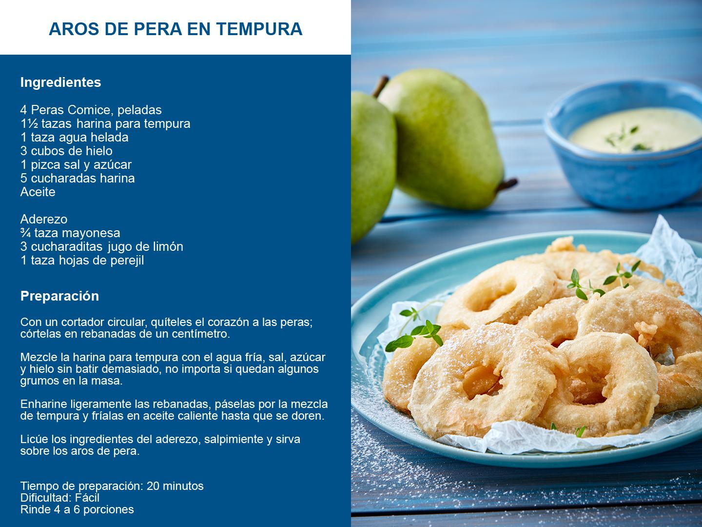 Aros de pera en tempura