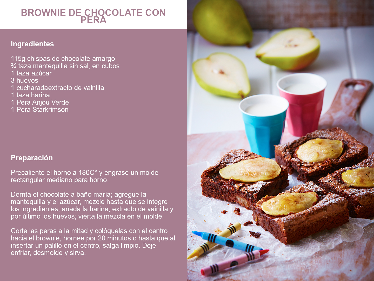 Brownie de chocolate con pera