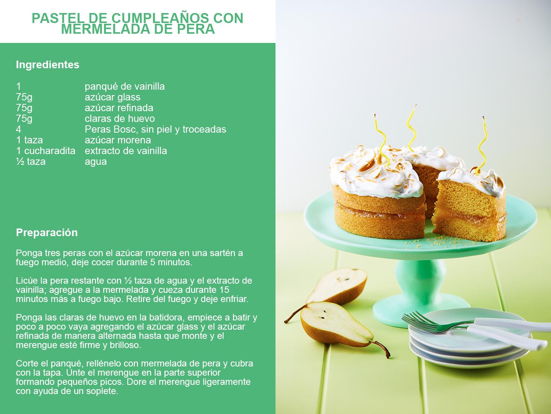 Pastel de cumpleaños con mermelada de pera